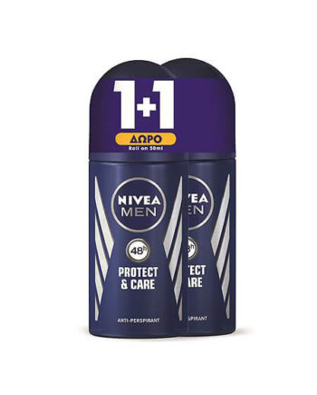 NIVEA Αποσμητικό Rollon Protect and Care Ανδρικό 50ml 1+1