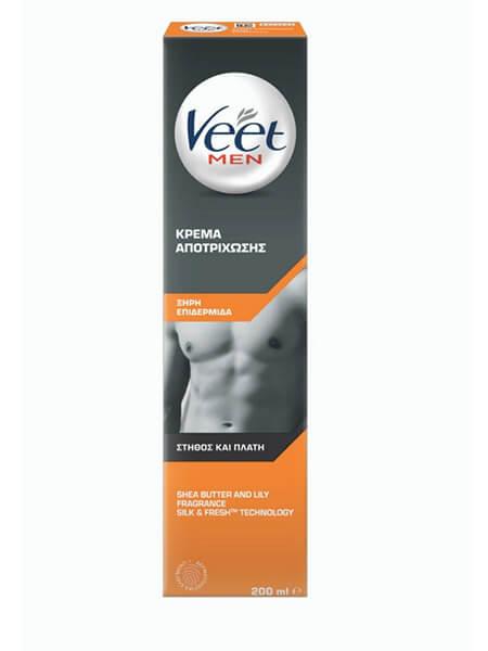 VEET MEN Κρέμα Αποτρίχωσης για Ξήρη Επιδερμίδα Στήθος και Πλάτη 200ml