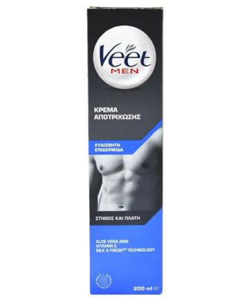Veet for Men Κρέμα Αποτρίχωσης για Ευαίσθητη Επιδερμίδα για Στήθος & Πλάτη 200ml