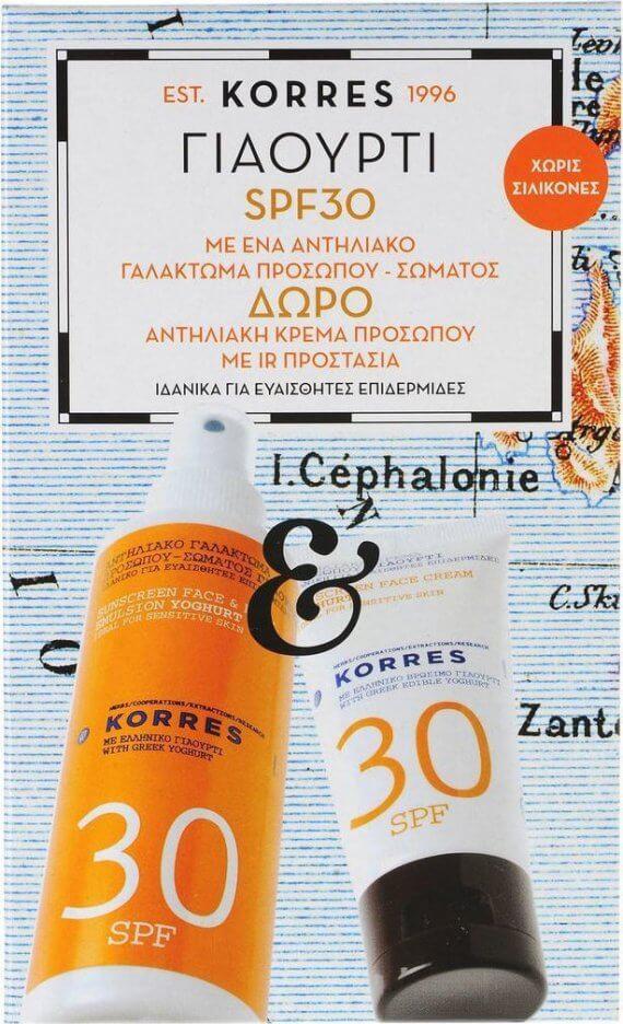 Korres Αντιηλιακό Γαλάκτωμα Σώματος Γιαούρτι SPF30 150ml & Αντιηλιακή Κρέμα Προσώπου SPF30 50ml
