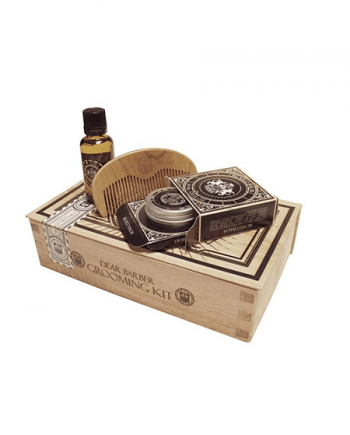 Dear Barber Grooming Kit - Beard Oil 30ml & Moustache Wax 25ml & Limited Edition Luxury Apricot Beard Comb