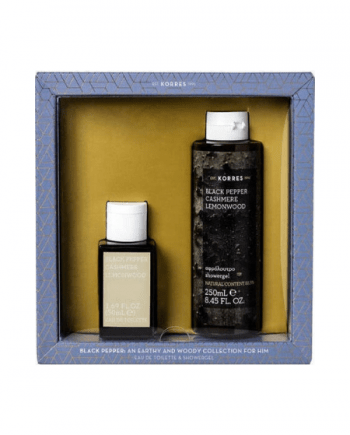 Korres Gift Set For Him Black Pepper - Eau de Toilette: 50mL & Αρωματικό αφρόουτρο: 250mL