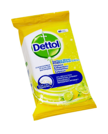 Dettol Power & Fresh Advance Lemon & Lime Απολυμαντικό 40 μαντηλάκια