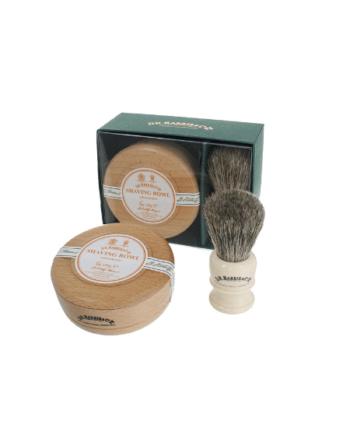 Dr Harris Sandalwood shaving gift set (shaving soap in bowl and shaving brush)