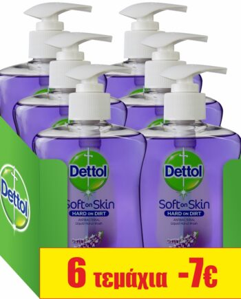 Dettol Lavender & Grape Αντιβακτηριδιακό Υγρό Κρεμοσάπουνο Με Αντλία Λεβάντα - Χαλαρωτικό 6 χ 250ml