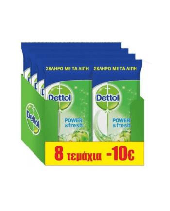 Dettol Power and Fresh Green Apple Αντιβακτηριδιακά Πανάκια Καθαρισμού 8 Χ 40 Τμχ