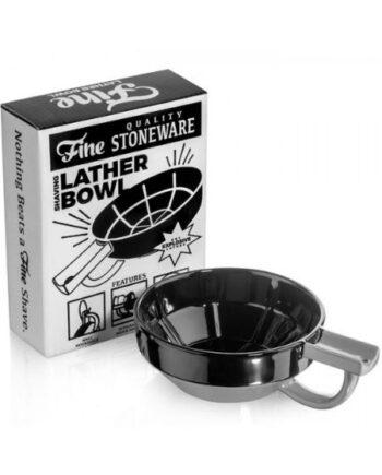 Fine Accoutrements Porcelain Shaving Lather Bowl Black Gray